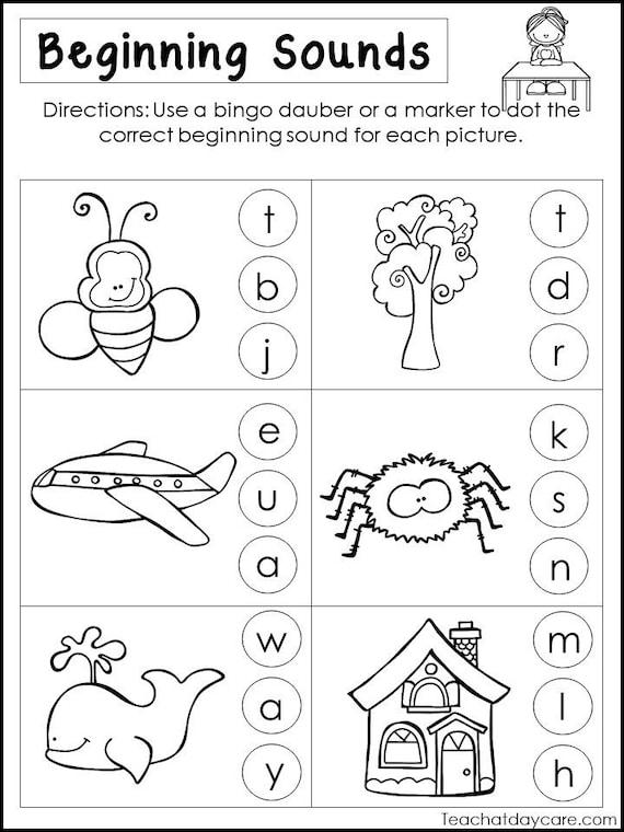 10 Printable Beginning Sounds Worksheets. Preschool-1st Grade Etsy