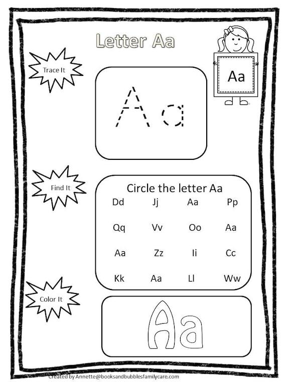 26 Printable Alphabet Trace It, Find It, Color It Worksheets. Preschool-KDG  Phonics.