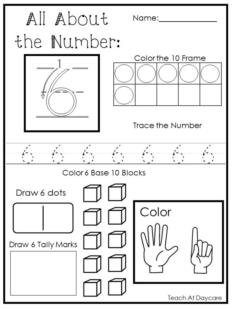 20 Printable All About the Numbers 1-20 Worksheets. | Etsy