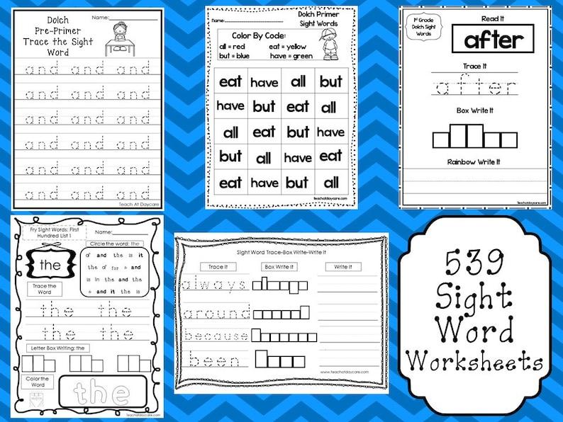 539 Sight Word Worksheets Download  Preschool-3rd Grade ELA  ZIP file