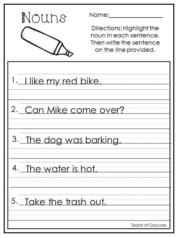 10 Printable Highlight The Nouns Worksheets. 1st-2nd Grade ELA Etsy