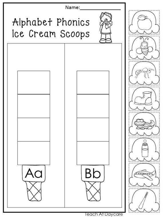 graphic regarding Printable Ice Cream Scoops identified as 13 Printable Alphabet Ice Product Scoops Worksheets. Preschool-KDG Phonics.