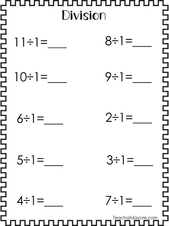 10 Printable Division Worksheets. Numbers 1-10. 3rd-5th Grade Math.