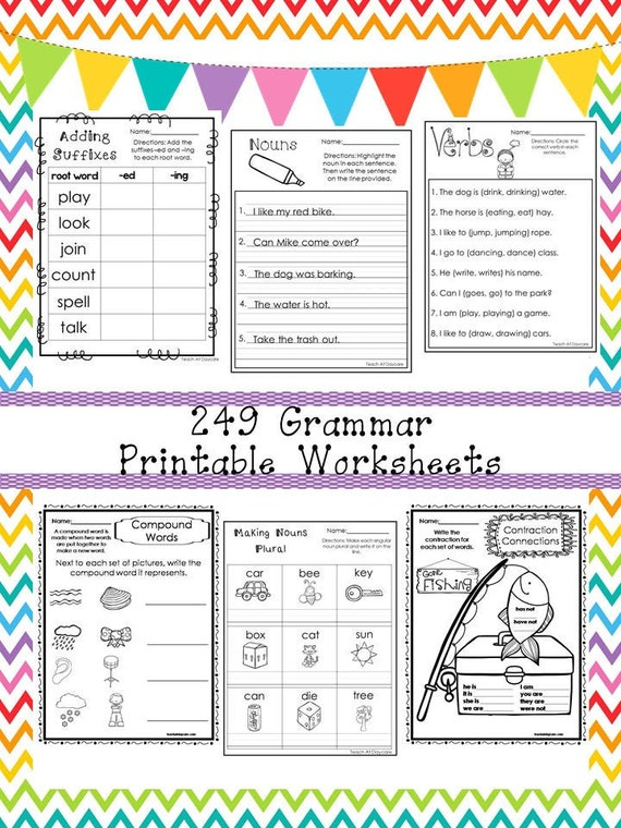249 Grammar Worksheets Download. 1st-3rd Grade ELA. ZIP File. Etsy