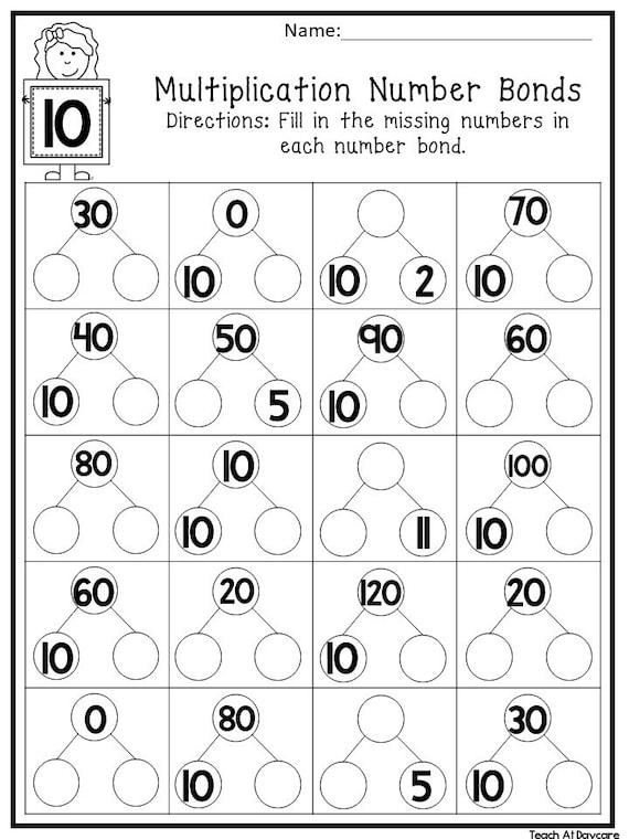 12 Printable Multiplication Number Bonds Worksheets. Numbers 1-12. 1st-4th  Grade Math.