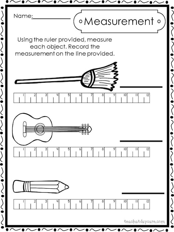 10 printable measuring with a ruler worksheets preschool 1st etsy. Black Bedroom Furniture Sets. Home Design Ideas