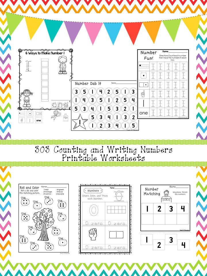 303 Counting And Writing Numbers Worksheets Download Zip Etsy