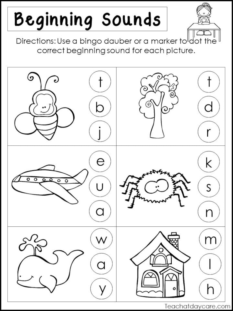 10 Printable Beginning Sounds Worksheets Preschool 1st