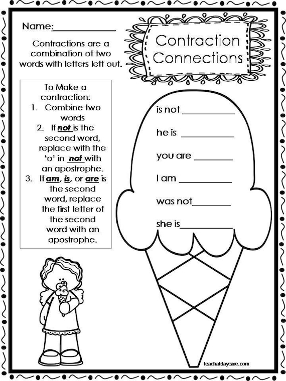 10 Printable Contractions Worksheets. 1st-2nd Grade ELA Etsy