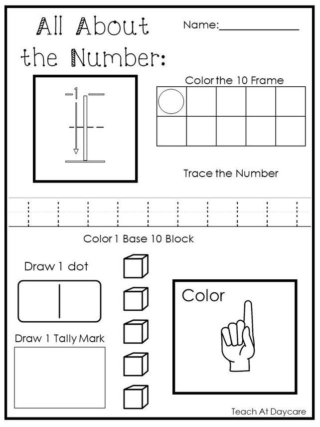 20 Printable All About The Numbers 1 20 Worksheets Etsy