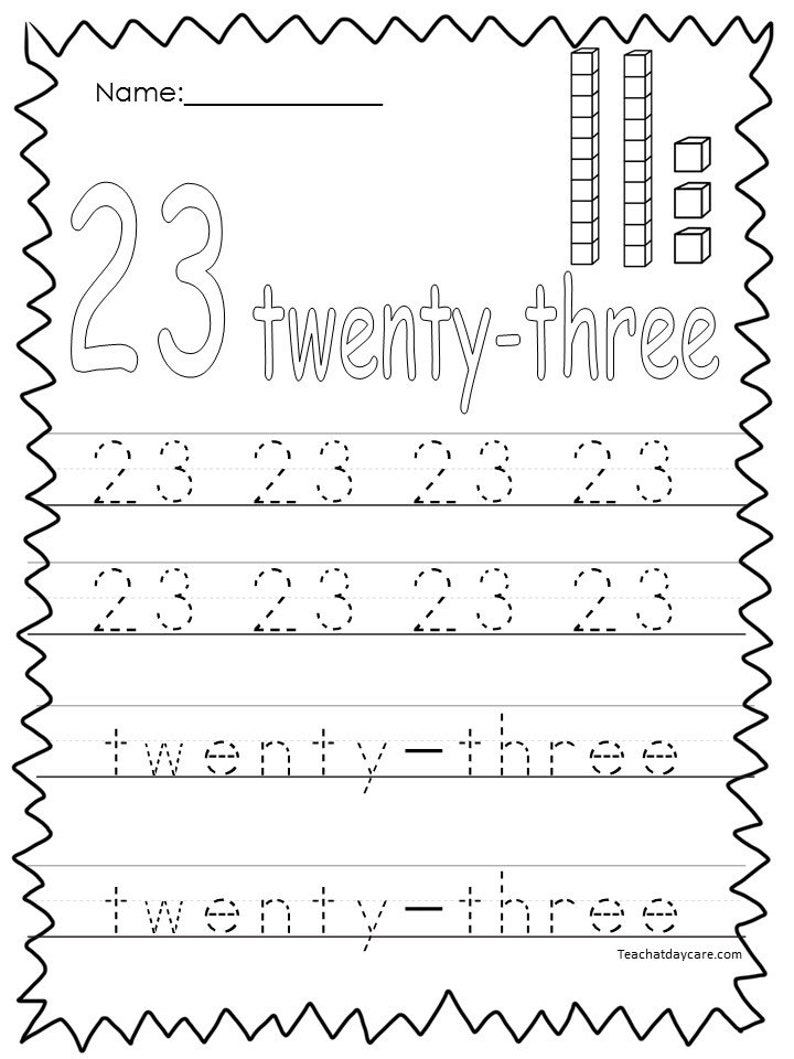 10 Printable Numbers 21-30 Tracing Worksheets. | Etsy