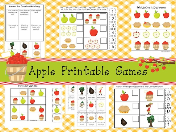 30 Apple Orchard Preschool Educational Learning Games