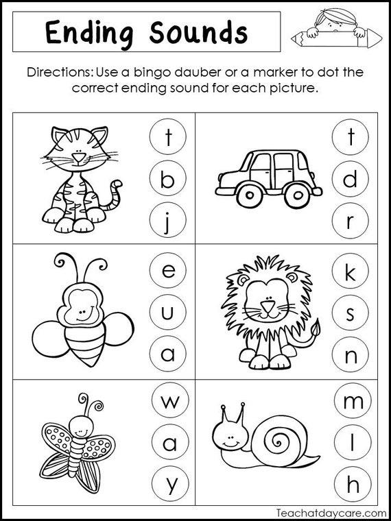 10 Printable Ending Sounds Worksheets. Preschool-1st Grade Phonics and  Literacy