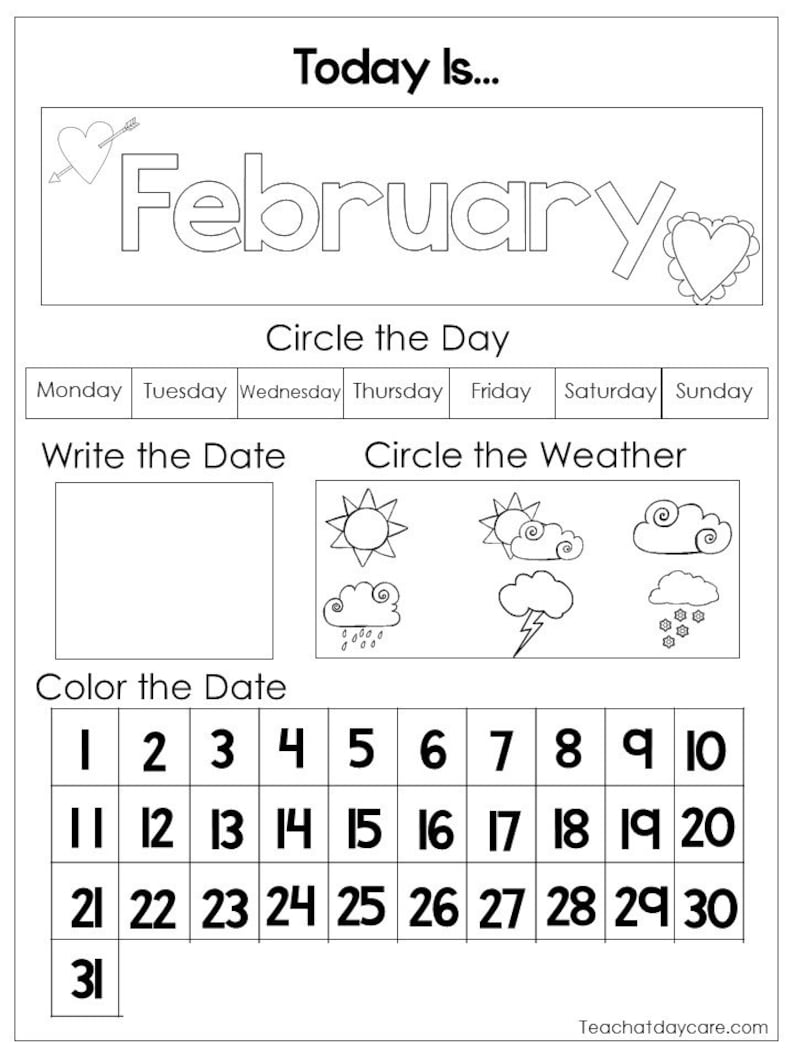 12 Printable Preschool Calendar Worksheet Pages. Month Day ...