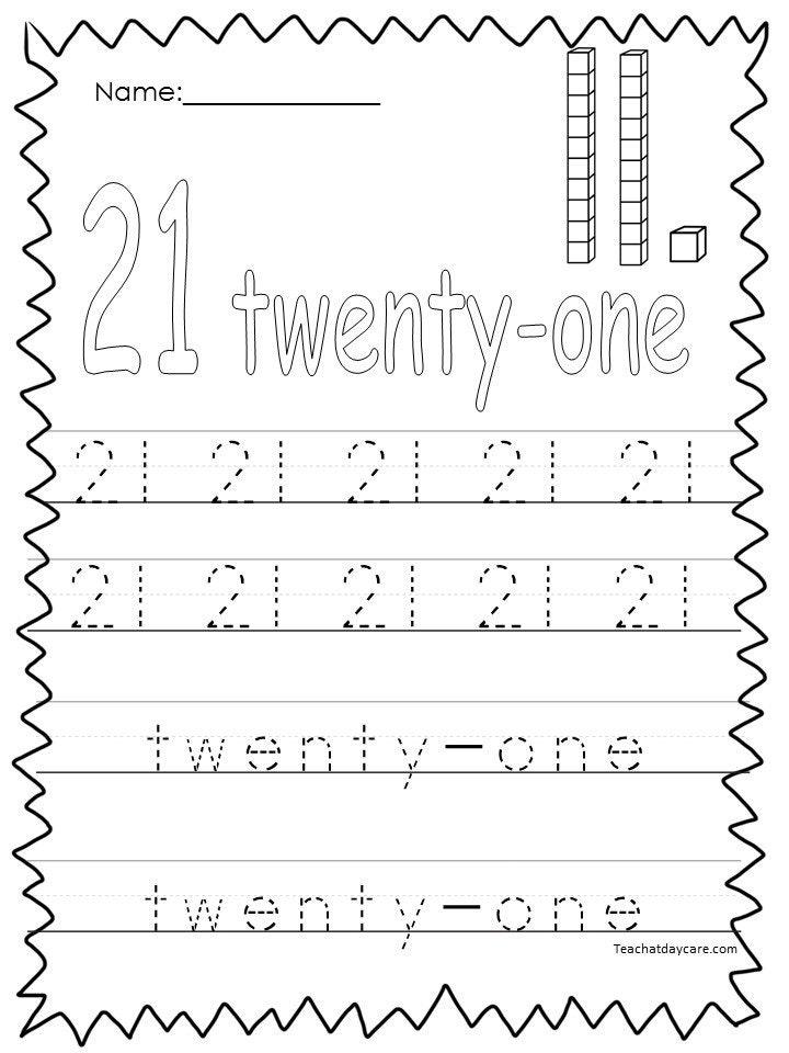 10 Printable Numbers 21 30 Tracing Worksheets Etsy