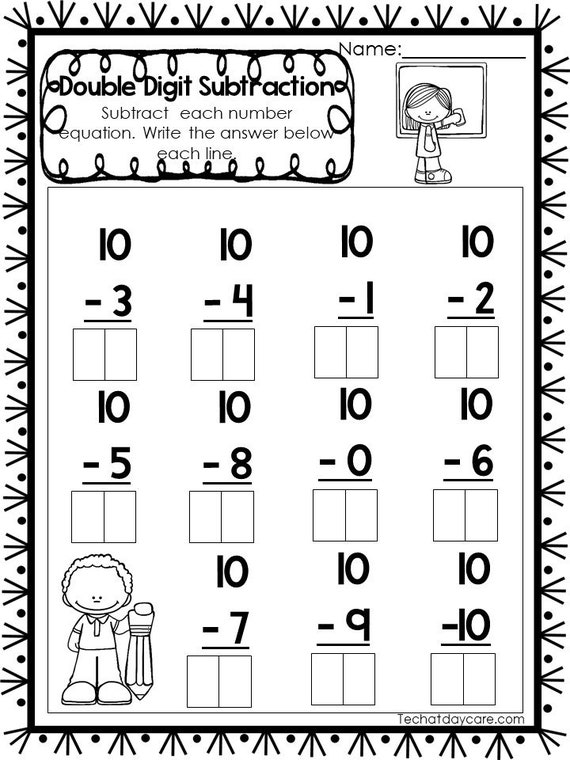 printable double digit subtraction worksheets numbers  etsy image