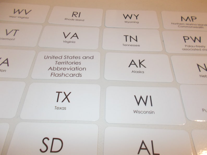 50 State Abbreviations Laminated Flashcards. Pre-5th   Etsy on