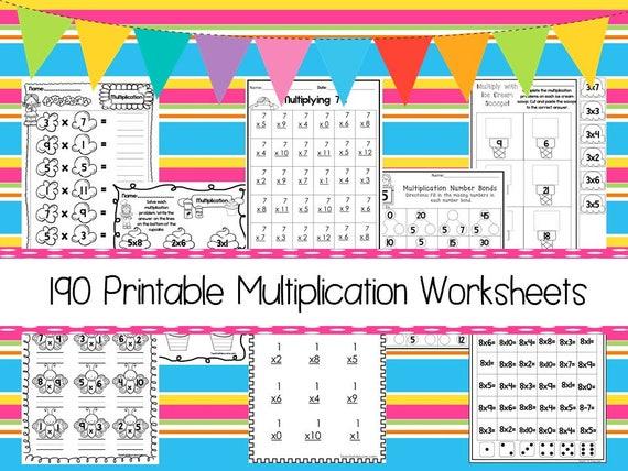 190 Multiplication Worksheets Download  ZIP file  2nd Grade through 4th  Grade Math Practice Worksheets