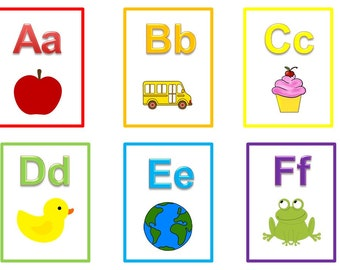 26 Printable Alphabet Flash Cards.  Full color flash cards.  Preschool learning activity for daycare children.