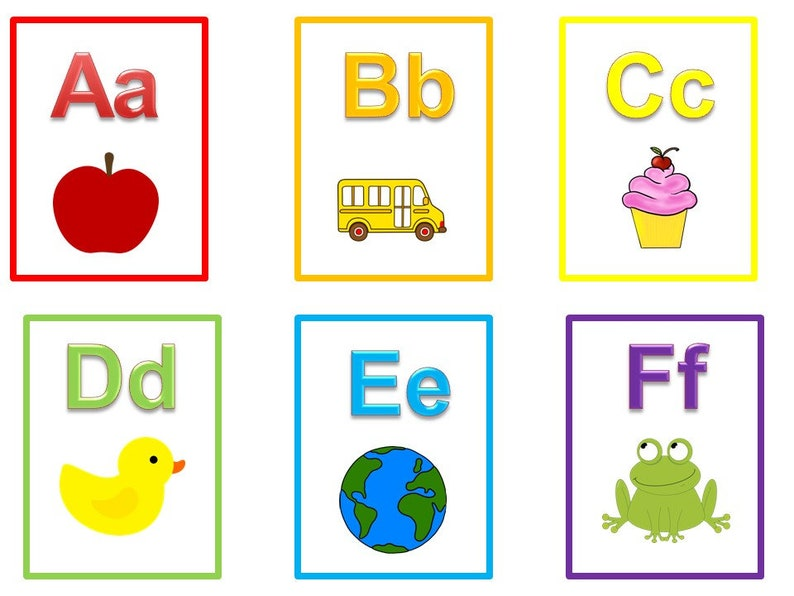 Slobbery image in printable abc flash cards