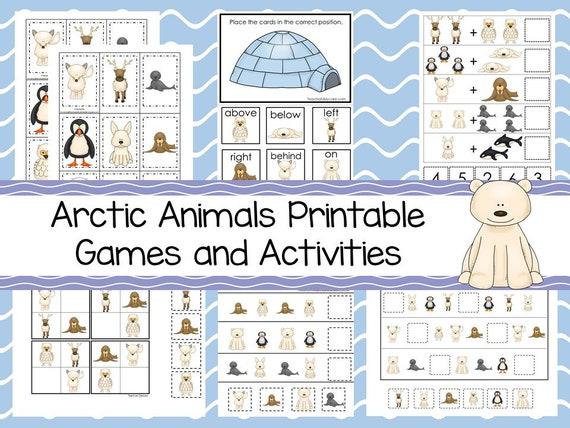 30 Printable Arctic Animals Preschool Educational Games