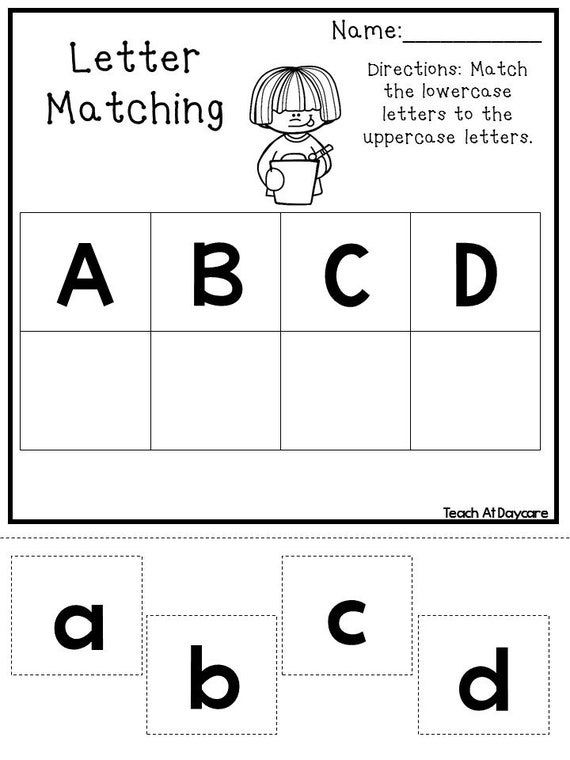 21 printable alphabet matching worksheets preschool kdg. Black Bedroom Furniture Sets. Home Design Ideas