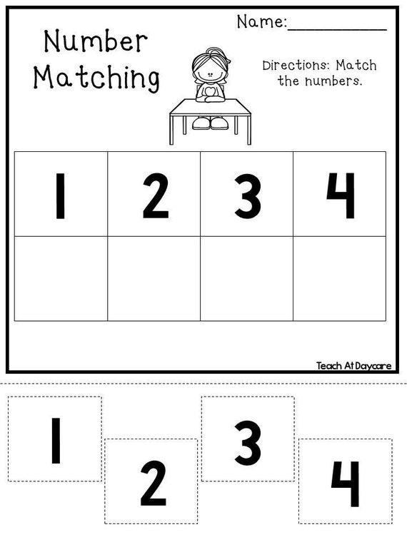 18 Printable Number Matching Worksheets. Etsy
