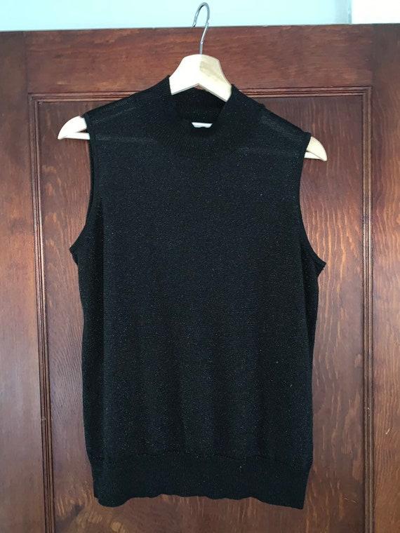 Vintage 90's Black Lurex Sleeveless Mock Turtlenec