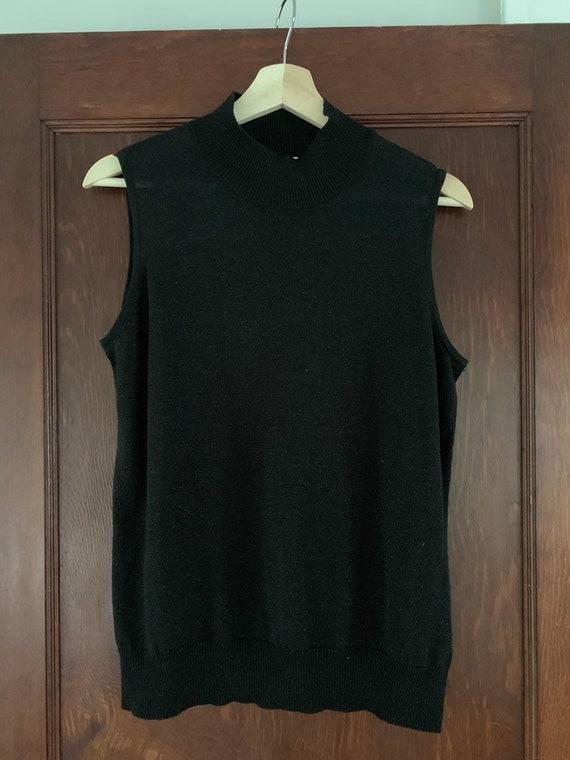 Vintage 90's Black Lurex Sleeveless Mock Turtlene… - image 3
