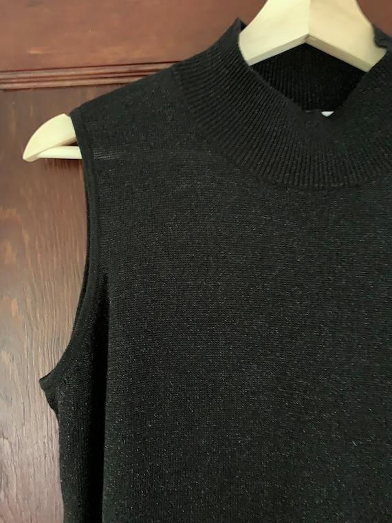 Vintage 90's Black Lurex Sleeveless Mock Turtlene… - image 2