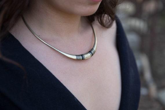 Bronze choker, Choker necklace, thin choker, delic