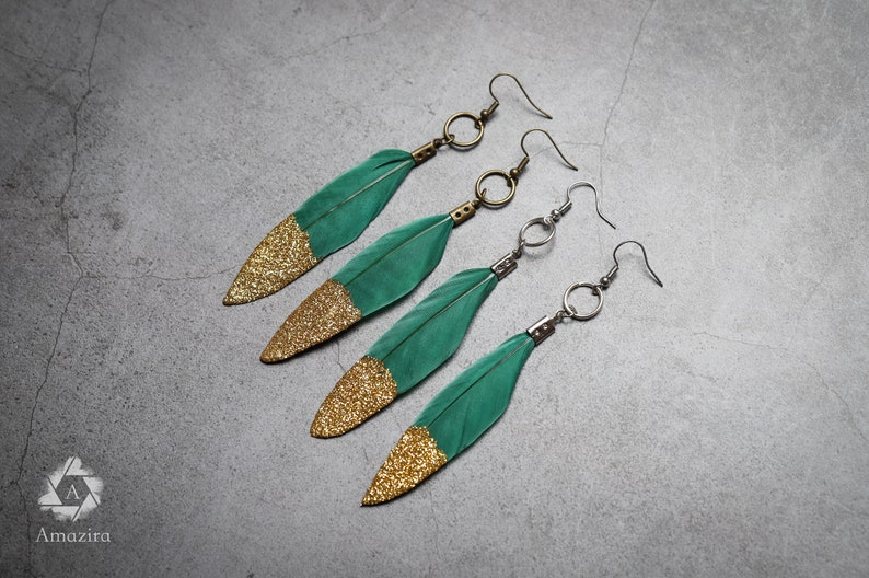 mothers day best friend gifts gift for her women Real feather earrings Unique Pair of Green and gold glitter dipped feather earrings