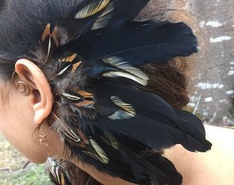 Ear cuff / feather ear cuff / feather head piece / feather extension / festival head piece / burning man festival / feather earring