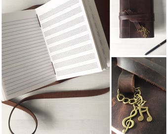 Music Gift, Leather music journal, musician gift, music composition book, songwriting book, composer gift, leather notebook A6, christmas