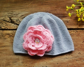 Girl Sun hat, Gray soft hat, Summer hat,  Organic cotton hat, trend 2018, Cute model elegant hat, knitted summer hat, toddler hat