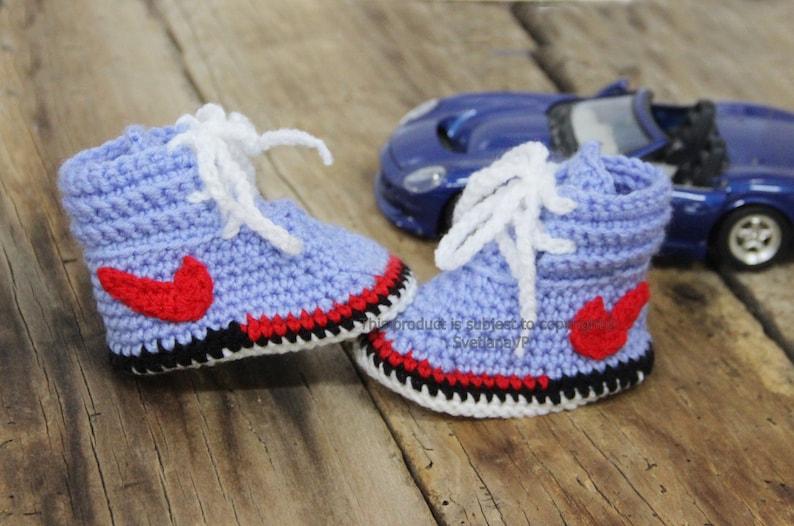 15884b0e61 Crochet baby shoes blue Nike baby sneakers Newborn boy | Etsy