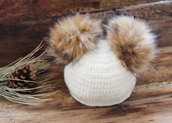 Winter hat with fox faux fur Newborn girl boy gift knitted  9a82695877