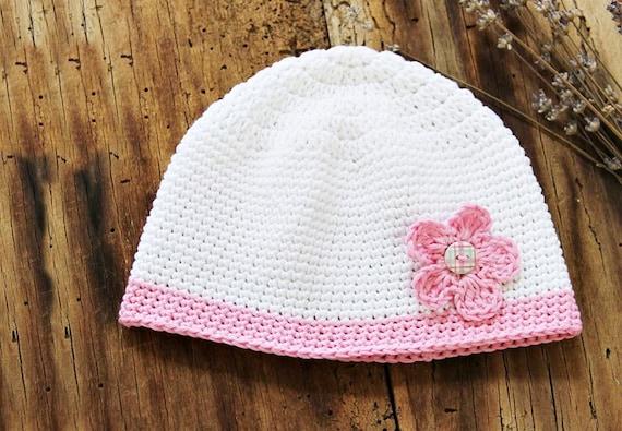 White Organic cotton Girl hat Soft newborn baby hat infant  76210ee8d