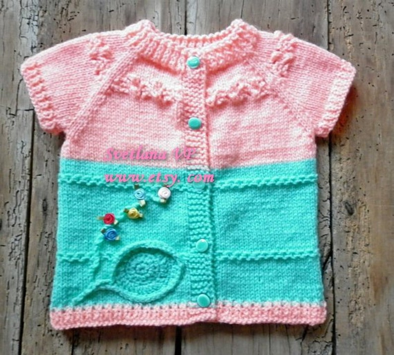 Hand knitted baby vest Baby Boutique Vest baby girl clothes image 1