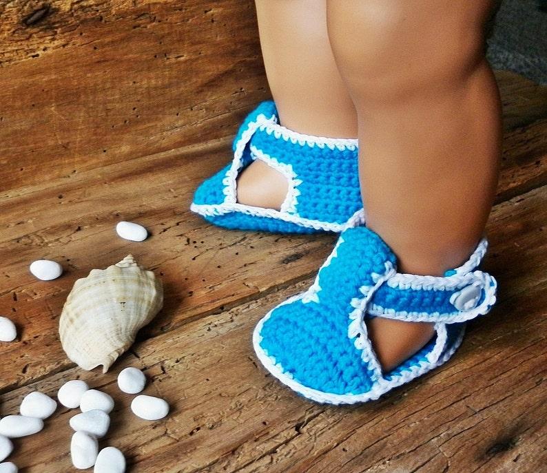 ba9bc7f03 Crochet Baby Boy Sandals Boy Booties Blue Summer Baby