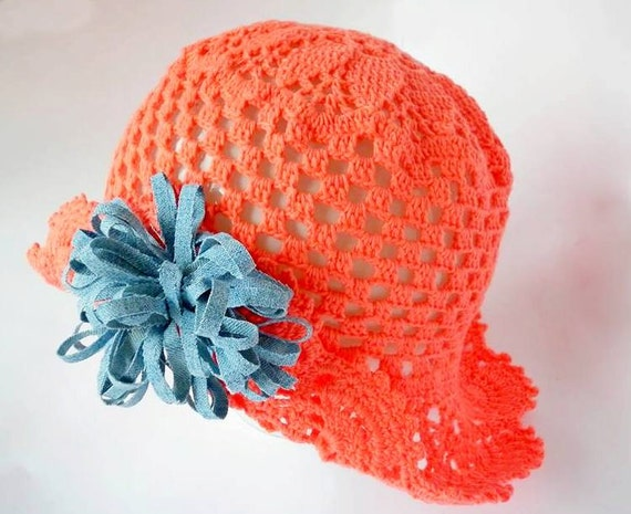 9af679b2 Girl Sun Hat, Organic Cotton Baby Hat, Coral Lace, Summer Girl Hat, Trend  2018, Hand Knitted baby clothes