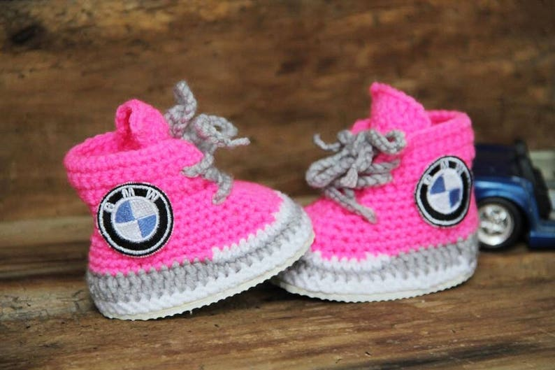 12d0c9b5591 Pink Baby sneakers BMW logo sneakers personalized baby