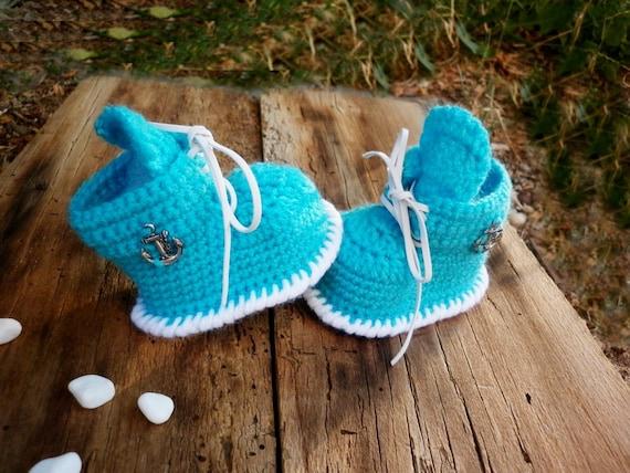 Blue Baby Booties gehäckelte Turnschuhe häkeln Neugeborenen