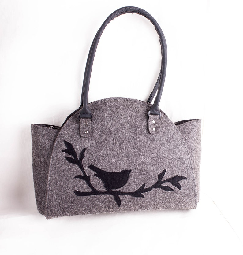 2b2d54fd0eb1 Bird on branch handbag Felt purse Bird bag Felted bag Felted