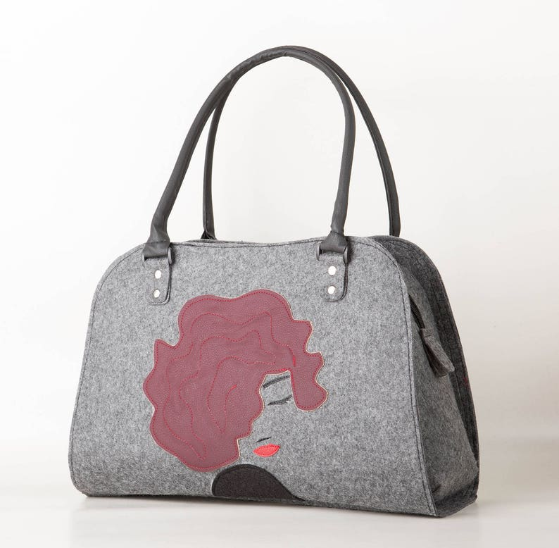 c4078507e9 Lady purse Women handbag Lady bag Red hair lady bag Felt bag