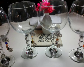 Wire wrapped Wine glasses with glass, metal, and stone bead accents - set of four