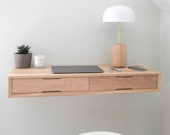Floating Oak Desk   Work from home   Home Office Desk   Small Minimal Desk
