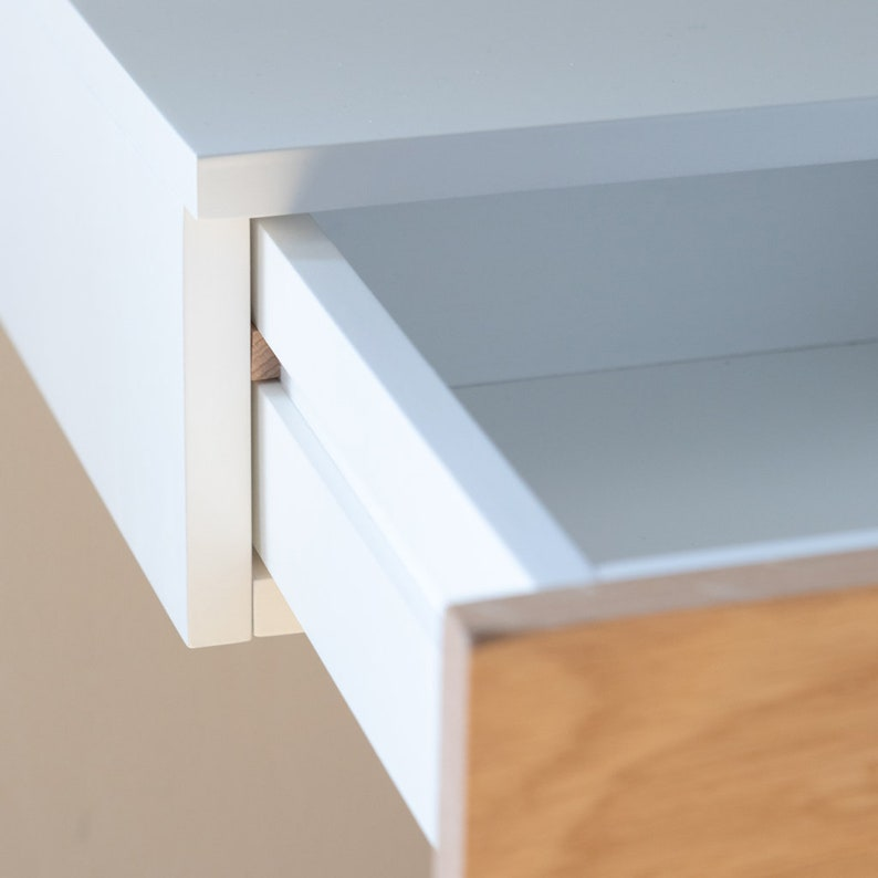 Piccola tavolo da dressing galleggiante bianco faU9uz7H