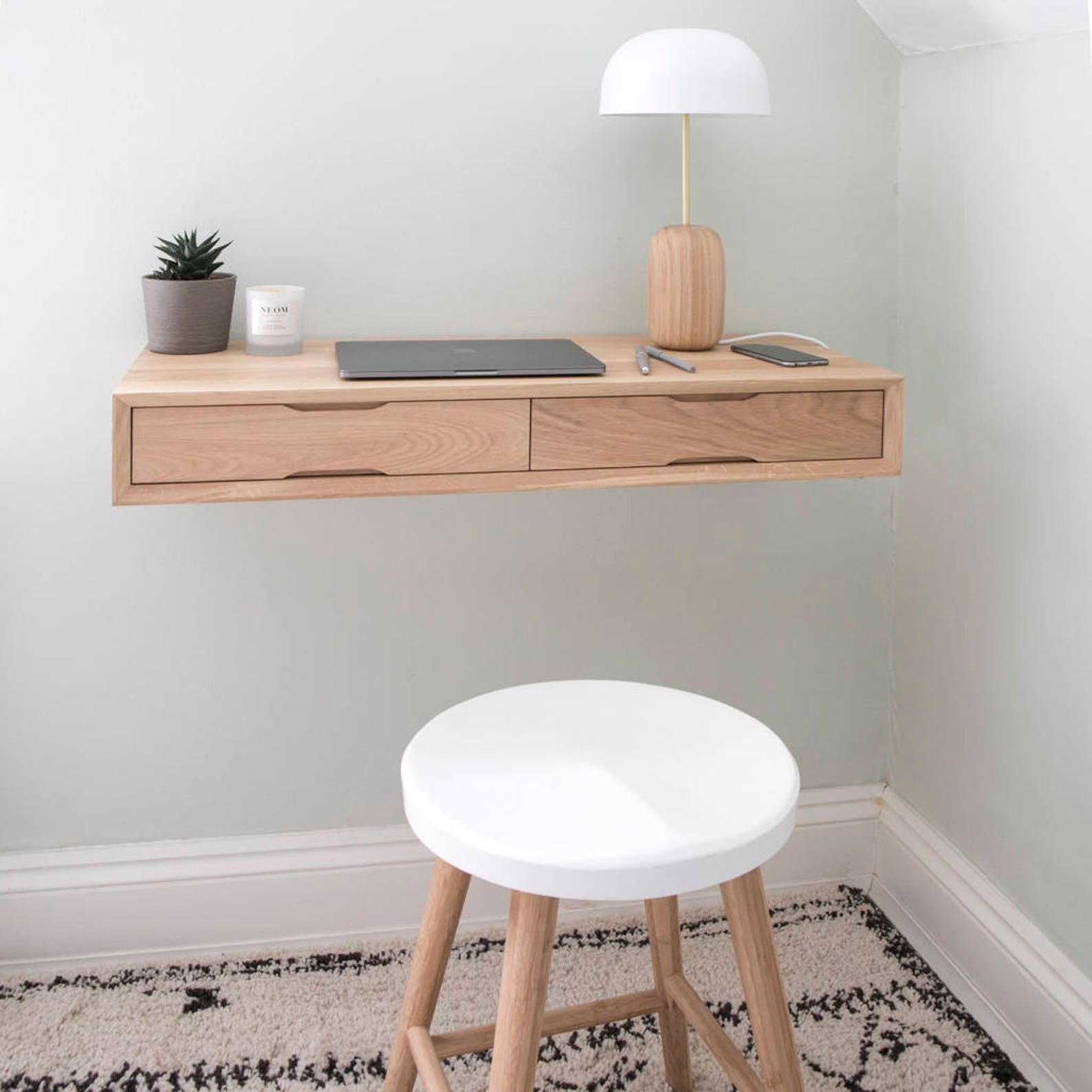 Natural wood floating desk with drawers