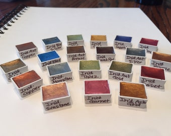 Iridescent Specialty Set  - Hand-Poured Half Pans of Fine Art Watercolor Paint by Daniel Smith